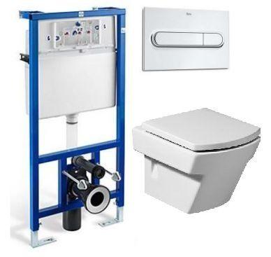 Система инсталляции Roca PRO WC 89009000 в комплекте с подвесным унитазом Roca Hall 346627000 с сиденьем Soft Close