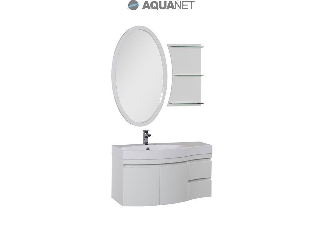Комплект мебели Aquanet  Опера 115 левая распашные двери, зеркало овальное+полка, цвет белый (169414)