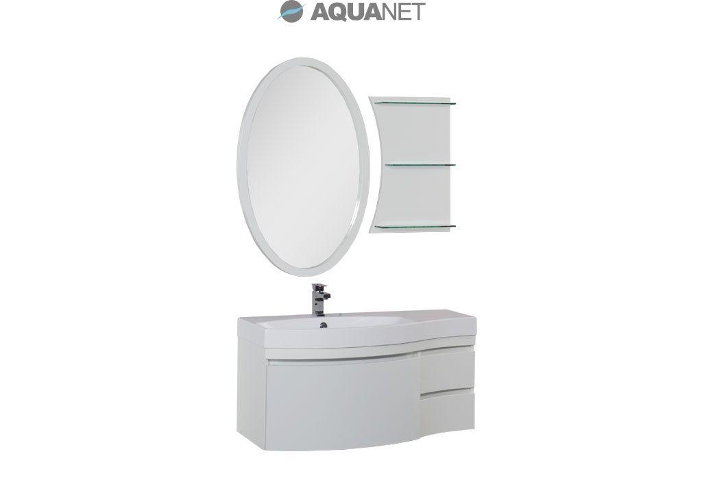 Комплект мебели Aquanet  Опера 115 левая с выдвижными ящиками,  зеркало овальное+полка, цвет белый (169448)