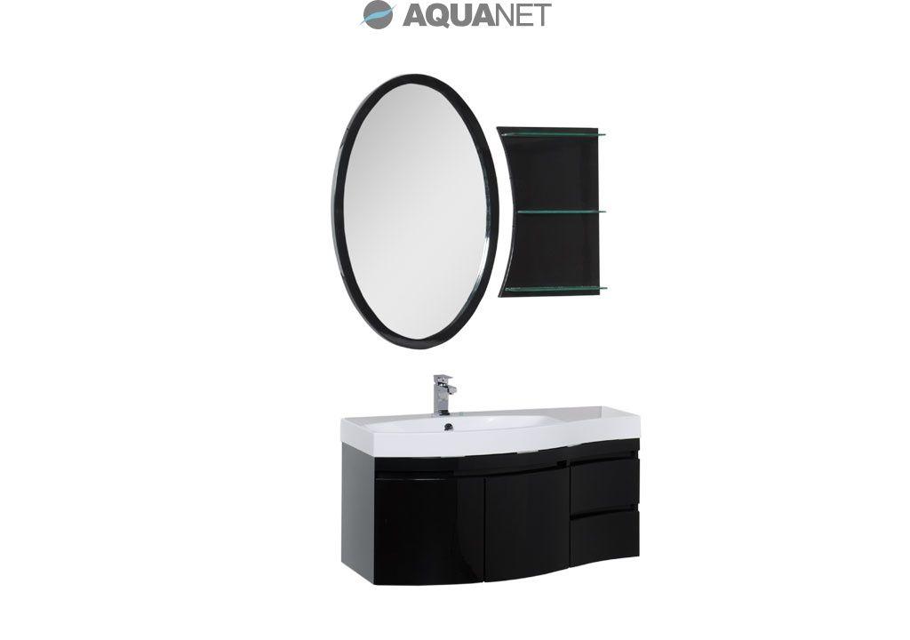 Комплект мебели Aquanet  Опера 115 левая распашные двери, зеркало овальное+полка, цвет черный (169415)