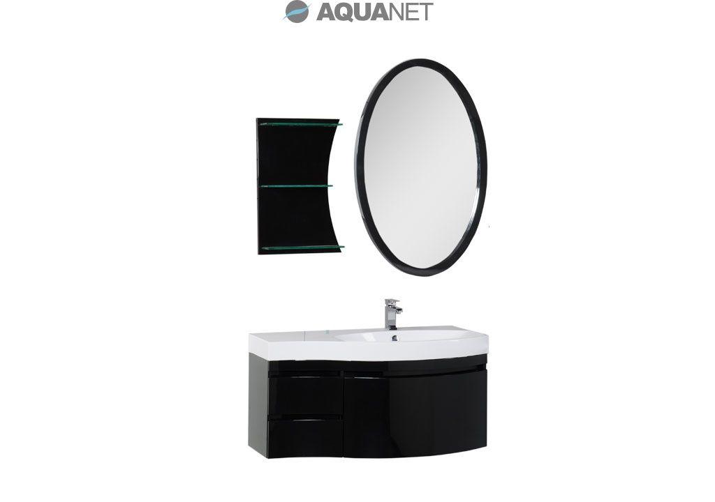 Комплект мебели Aquanet  Опера 115  правая с выдвижными  ящиками, зеркало овальное+полка, цвет черный (169453)