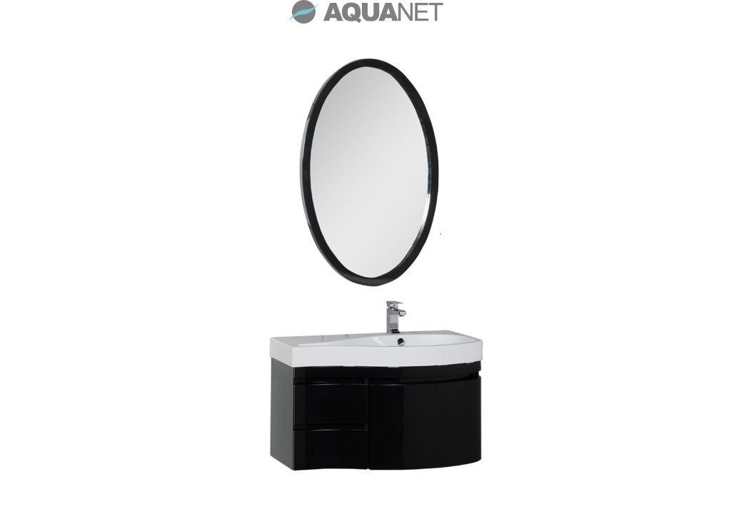 Комплект мебели Aquanet   Сопрано 95 правая с выдвижными ящиками, зеркало овальное, цвет черный  (169445)