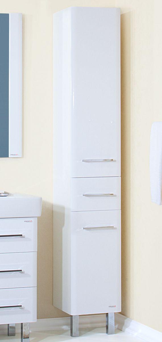 Пенал для ванной комнаты Бриклаер Аквавита 32, 3D, белый глянец, с БК, подвесной