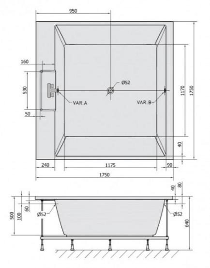 Каркас для ванны Alpen Came 175x175